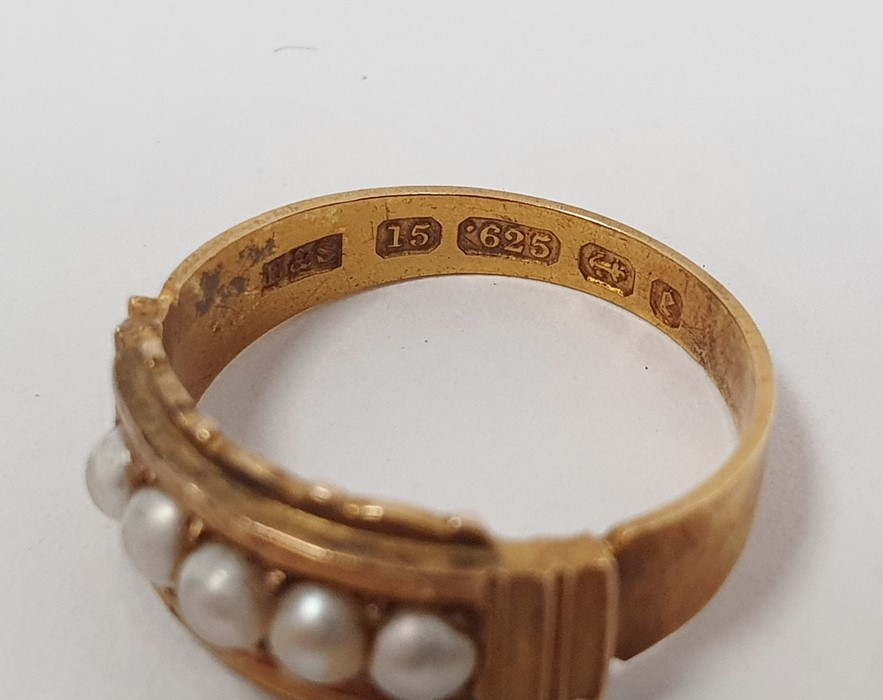 Victorian15ct gold ring, Birmingham 1879, set with five split pearls, finger size L, and a gold ring - Image 3 of 5
