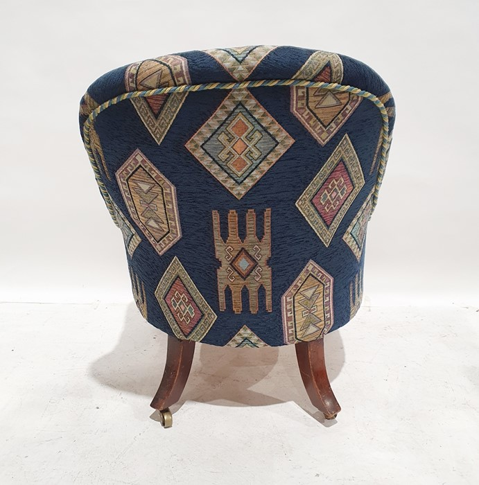 Late 19th/early 20th century armchairby Howard & Sons, reupholstered in blue ground patterned - Image 4 of 8