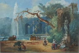Continental School - 19th century Watercolour Figures in a garden with lake and statues, Unsigned 24