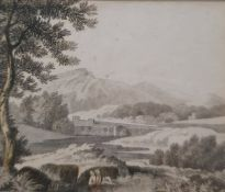 After Poussin Pair small engravings Landscape scenes, 5 x 6cm and 4 x 6cm and Modern print of a