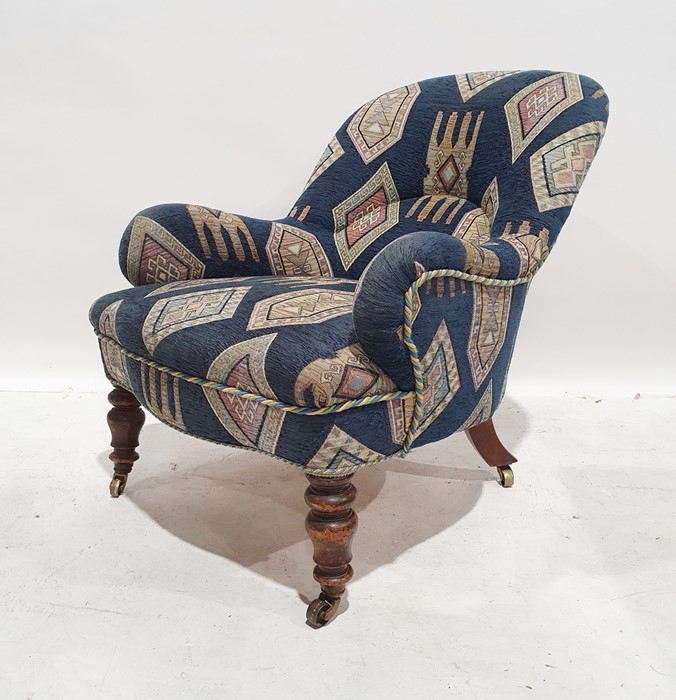 Late 19th/early 20th century armchairby Howard & Sons, reupholstered in blue ground patterned - Image 8 of 8