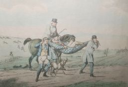 After Henry Alken Six hand coloured etchings, 'Going at a chalk pit, gravel pit or river', 'Going