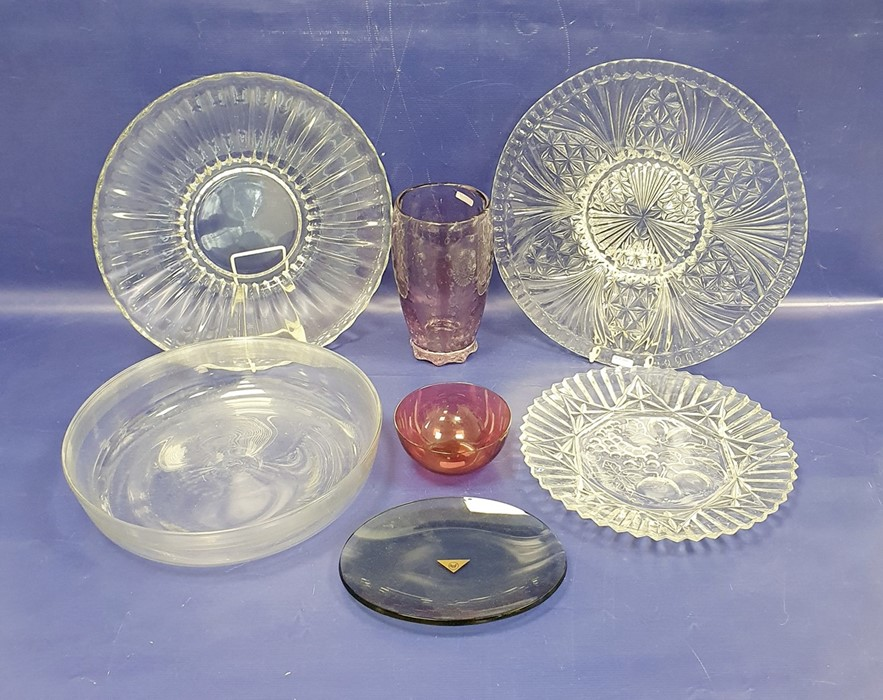 Amethyst glass vasewith internal bubble decoration and a collection of assorted cut glasswareto - Image 2 of 2