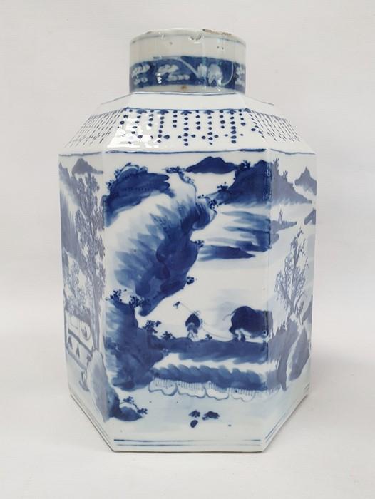 Chinese porcelain hexagonal jar and cover, underglaze blue decoration of lakeside landscape - Image 8 of 25