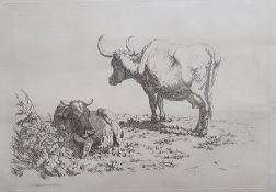 After Robert Hills(1769 - 1844) Five engravings from the Etchings of Cattle published 1806, each