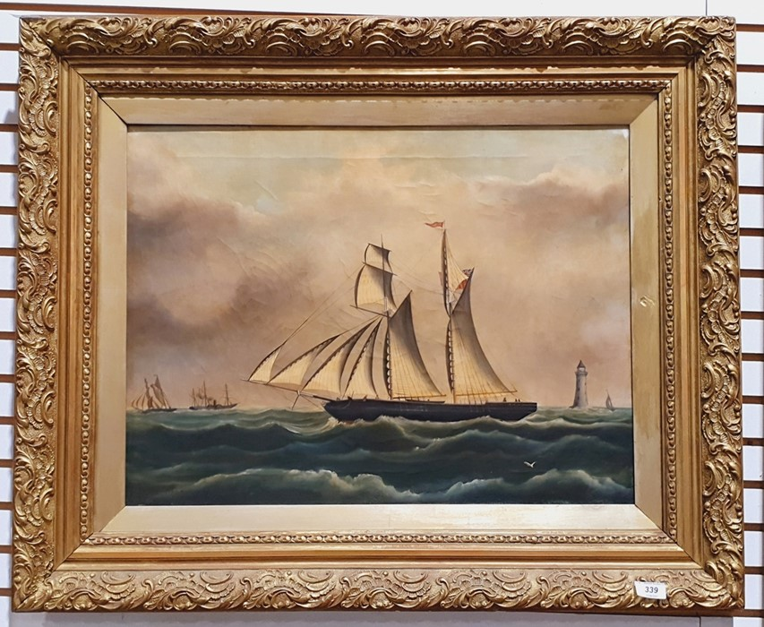 B O Spencer Oil on canvas Sailing ship in choppy waters, signed and dated 76 lower left, 44cm x - Image 2 of 2