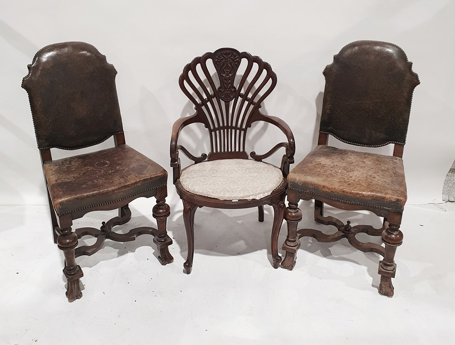 Three assorted chairsto include carver chair with unusual shaped back, oval seat, cabriole legs (3)
