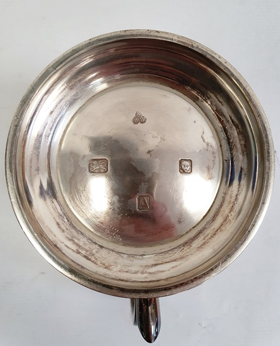 Silver mugby Wakely & Wheeler, London 1936 of plain baluster form, on circular foot with scroll - Image 2 of 5