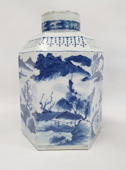 Chinese porcelain hexagonal jar and cover, underglaze blue decoration of lakeside landscape - Image 4 of 25
