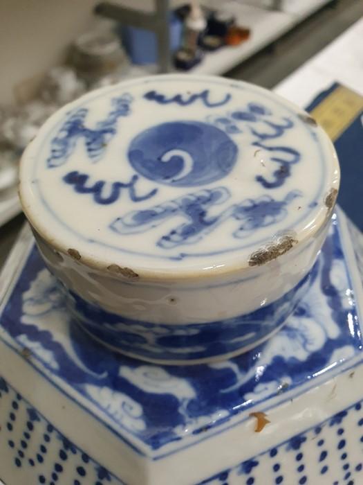 Chinese porcelain hexagonal jar and cover, underglaze blue decoration of lakeside landscape - Image 13 of 25