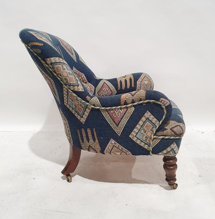 Late 19th/early 20th century armchairby Howard & Sons, reupholstered in blue ground patterned - Image 5 of 8