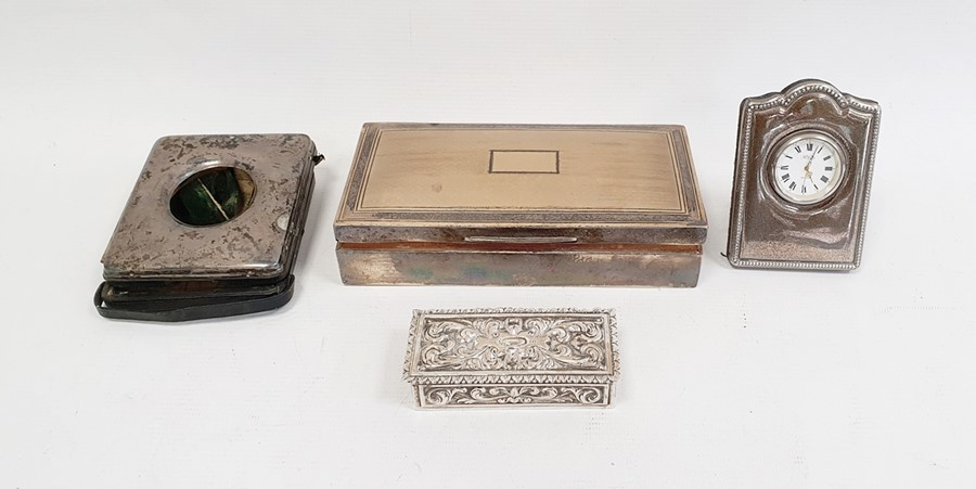 Silver cigarette boxby Abrahams Bros, Birmingham 1927 of rectangular form with engine-turned