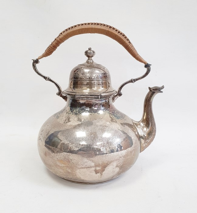 Large silver teapot/hot water kettleby Francis Higgins & Son Ltd, London 1911 of circular form with