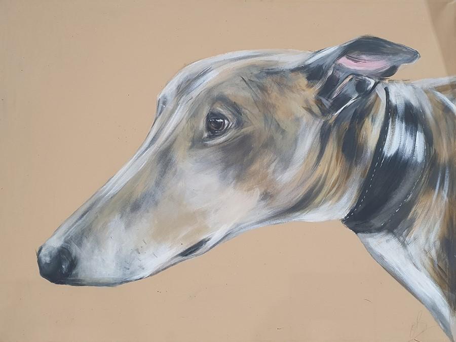 "Bex Barton (21st century) Oils on canvas ""Henry"", 102cm x 76cm (unframed) Greyhound head, 61cm x - Image 2 of 4"