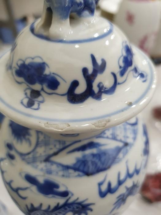 Chinese porcelain hexagonal jar and cover, underglaze blue decoration of lakeside landscape - Image 24 of 25