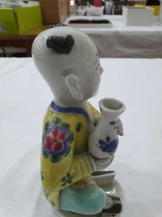 Pair of Chinese porcelain seated figures, laughing boys, each holding a blue and white vase, 16cm - Image 21 of 26