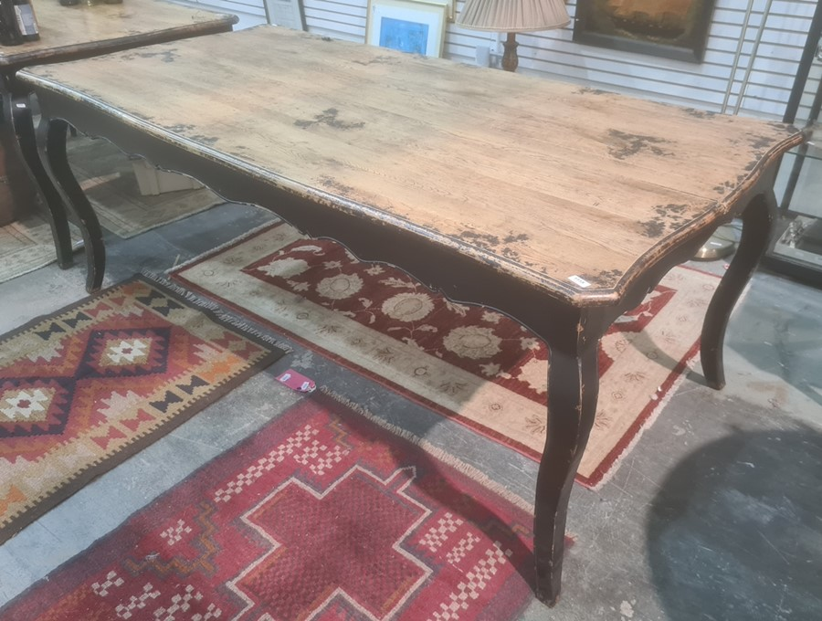 Shabby chic French-style dining table with black painted base, on cabriole legs, 195cm x 98cm