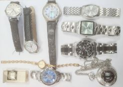 Gentlemen's stainless steel Astral strap watchand a quantity of other wristwatches and costume