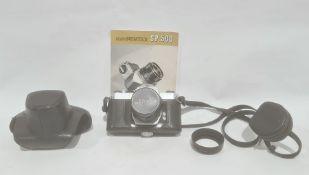 An Asahi Pentax SP 500 camera, no. 3269768, with Ashai 'Super- Takumar' lens 1:2/55 no. 5357827,