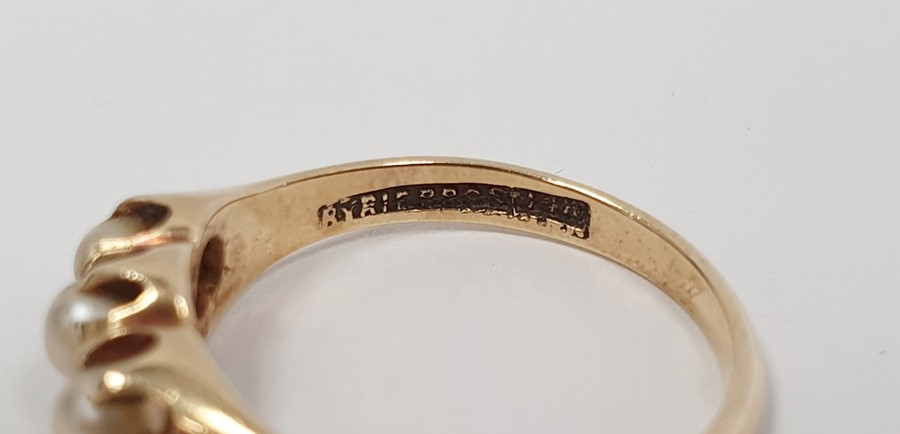 Victorian15ct gold ring, Birmingham 1879, set with five split pearls, finger size L, and a gold ring - Image 4 of 5