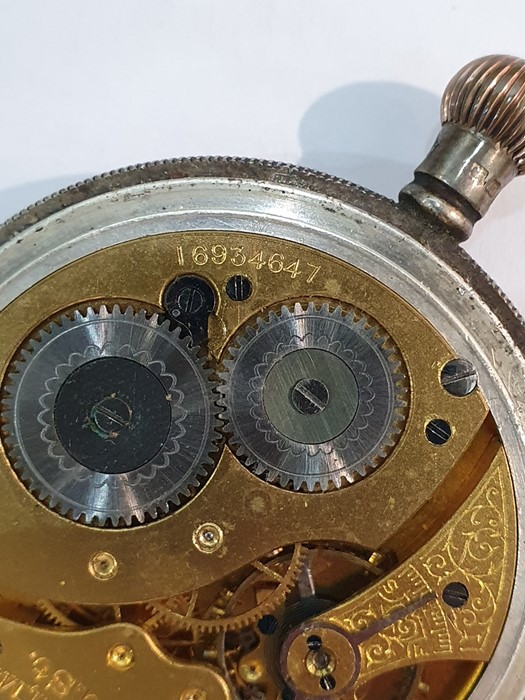 Silver open-faced pocket watch, the enamel dial with subsidiary seconds dial (glass broken), a - Image 19 of 19