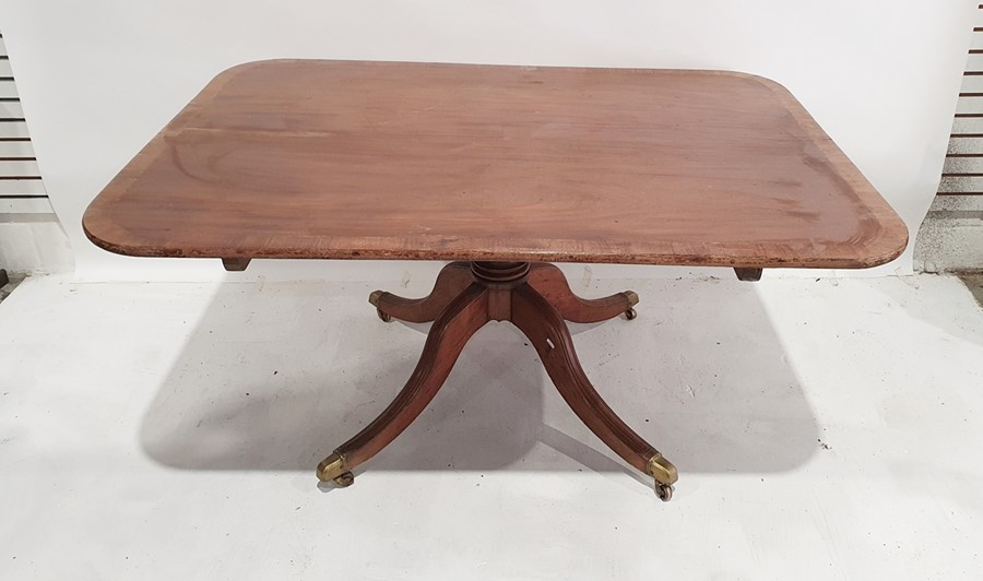 19th century mahogany pedestal table, the rectangular top with rounded corners, rosewood banded, - Image 2 of 2