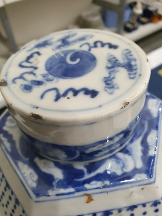 Chinese porcelain hexagonal jar and cover, underglaze blue decoration of lakeside landscape - Image 15 of 25