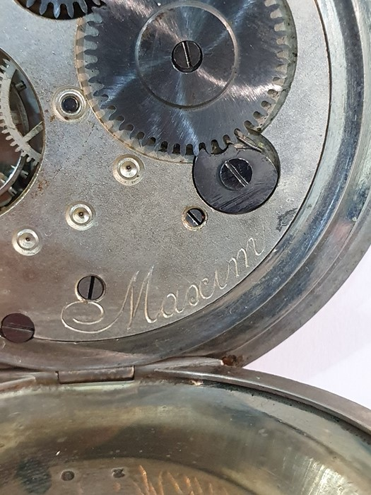 Silver open-faced pocket watch, the enamel dial with subsidiary seconds dial (glass broken), a - Image 13 of 19