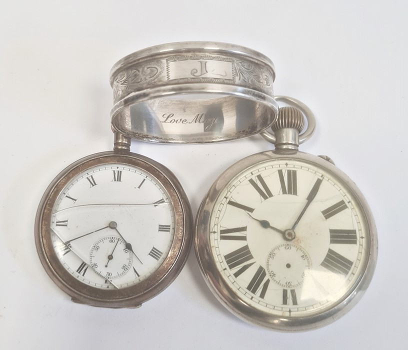 Silver open-faced pocket watch, the enamel dial with subsidiary seconds dial (glass broken), a