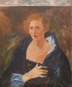 British school (20th century) Oil on canvas Half-length portrait of a lady with blue cape and