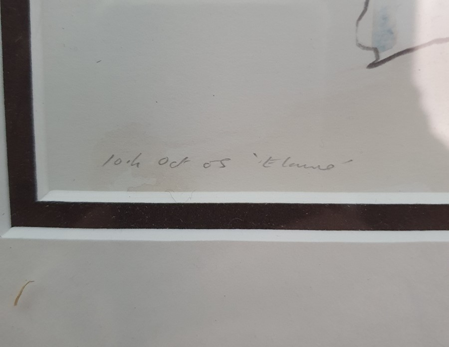 """Richard O'Connell British 21st century Pencil and coloured wash """"Elaine"""", titled and dated in - Image 7 of 8"""