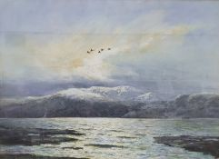 Arthur Gee (1934-2011) Pastel Study with mountainous backdrop, signed lower left