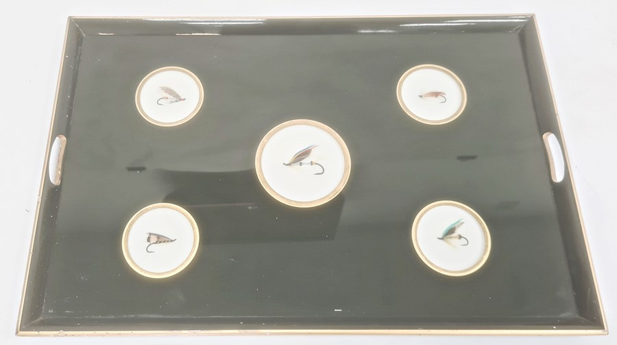 Green and gilt painted two handled wooden tray inset with five fishing flies under the glass base, - Image 2 of 2
