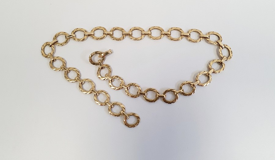 9ct gold necklace, of flattened oval links, approx. 48gCondition ReportLength is 45.5cm. Clasp