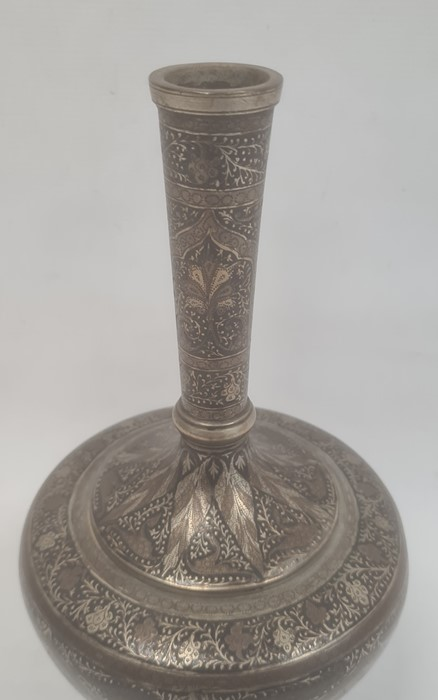 Persian silver and copper inlaid bottle vase with all-over formal foliate and anthemion decoration - Image 2 of 6