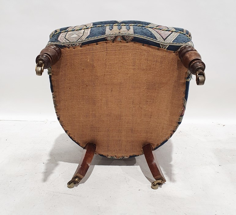 Late 19th/early 20th century armchairby Howard & Sons, reupholstered in blue ground patterned - Image 6 of 8