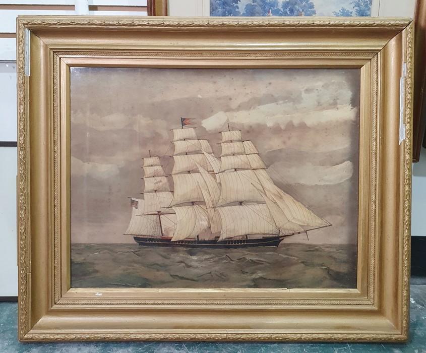 19th century school Watercolour Clipper ship at sea, unsigned,38cm x 49.5cm - Image 2 of 2