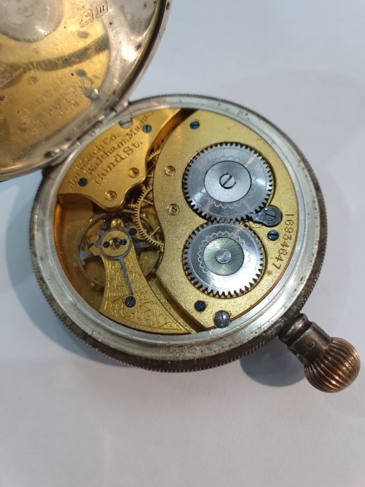 Silver open-faced pocket watch, the enamel dial with subsidiary seconds dial (glass broken), a - Image 16 of 19