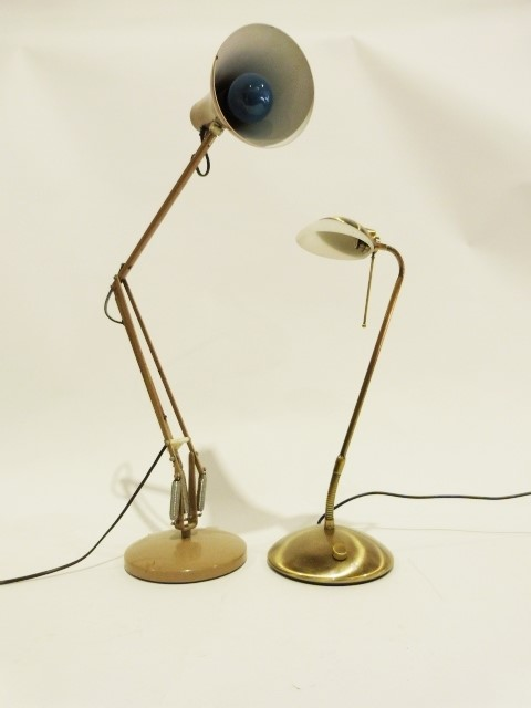 Brown anglepoise light and another modern brass effect table lamp (2)