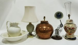 Large table lamp with circle copper base, a ceramic ginger jar and cover converted into a table