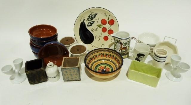 Set of blue glazed earthenware bowls, large plain white bowl, a white glazed platter and various - Image 2 of 2