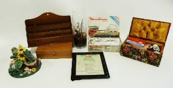 Magazine rack, assorted cushions, a metal model of a peacock and a box of miscellaneaincluding a