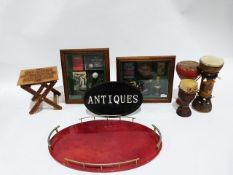 Oval red tray with part gallery, a framed footballing memento collection, assorted vases and