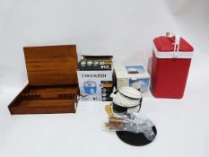 Crockpot electric rice cookerand fondue set and other items