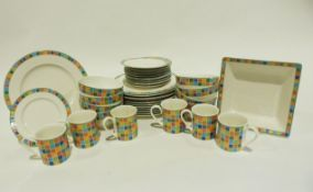 Quantity of Villeroy & Boch, Twist-Alea Caro pattern dinnerware, comprising dinner plates, side