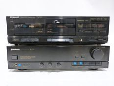 Pioneer A-223 stereo amplifier with CT-W300 twin cassette deck