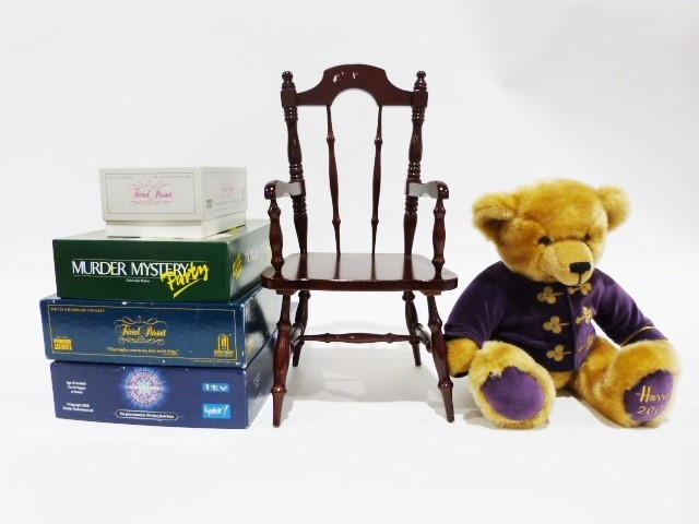 Large blue and white vase, a copper jug, a Harrod's millennium teddy bear on chair, board games, - Image 2 of 2