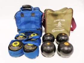 """Quantity of bowling trophies and a set of Jaques """"Jackfinder"""" bowling boules and a set of Thomas"""