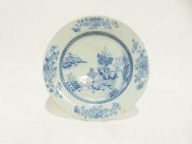Chinese porcelain plaque, underglaze blue lakeside landscape painted decoration, 36 cm diam (