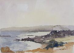 Robin Peers Watercolour Coastal landscape, 27 x 37cm and Two further watercolour landscape scenes